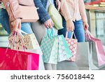 three women with many shopping... | Shutterstock . vector #756018442