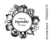 vector frame with vegetables .... | Shutterstock .eps vector #756020272