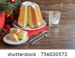 cut slices of italian christmas ... | Shutterstock . vector #756020572