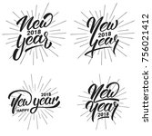 new year. happy new year 2018... | Shutterstock .eps vector #756021412