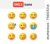 emoticon set. emoticon icons in ... | Shutterstock . vector #756025216