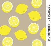 lemon pattern . lemon... | Shutterstock . vector #756025282