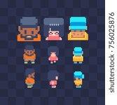 pixel art characters icon set....   Shutterstock .eps vector #756025876