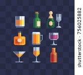 alcoholic beverages symbols.... | Shutterstock .eps vector #756025882