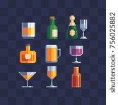alcoholic beverages symbols.... | Shutterstock .eps vector #756025882