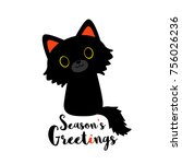 Stock vector vector illustration of black cat isolated on white background greeting card seasons greetings 756026236