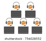 call center agents team. online ... | Shutterstock .eps vector #756028552