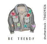 trendy jeans jacket. back and...   Shutterstock .eps vector #756029326