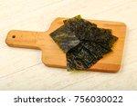 crispy nori sheets chips over... | Shutterstock . vector #756030022