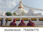 three monks in front of boudha... | Shutterstock . vector #756036775