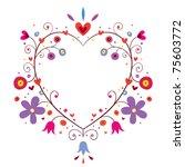 heart flowers frame - stock vector