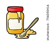 cartoon jar of honey | Shutterstock .eps vector #756050416