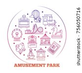 line icons flat amusement park...