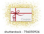 coupon card with red  thin... | Shutterstock .eps vector #756050926
