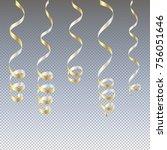 gold streamers. serpentine new... | Shutterstock .eps vector #756051646