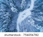 aerial view of snow covered... | Shutterstock . vector #756056782