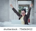 asian business woman with... | Shutterstock . vector #756063412