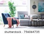 design of modern living room... | Shutterstock . vector #756064735