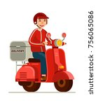 delivery man riding red scooter ... | Shutterstock .eps vector #756065086