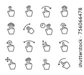 premium set of gesture line... | Shutterstock .eps vector #756066478