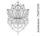mehndi lotus flower pattern for ... | Shutterstock .eps vector #756071335