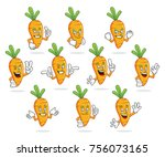 a set of carrot character... | Shutterstock .eps vector #756073165