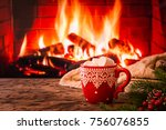 mug of hot chocolate or coffee... | Shutterstock . vector #756076855