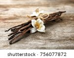 dried vanilla pods and flower... | Shutterstock . vector #756077872