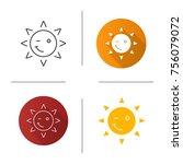 winking sun smile icon. flat... | Shutterstock . vector #756079072