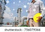 engineer holding safety helmet... | Shutterstock . vector #756079366