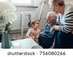 young girl sitting on... | Shutterstock . vector #756080266