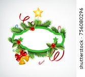 realistic christmas wreath... | Shutterstock .eps vector #756080296