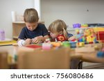 brother and sister is playing... | Shutterstock . vector #756080686