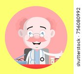 clinic doctor laughing face... | Shutterstock .eps vector #756080992