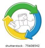 businessman running with... | Shutterstock .eps vector #75608542