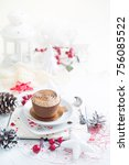 cupcake with white brown cream...   Shutterstock . vector #756085522