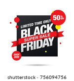 black friday sale banner layout ... | Shutterstock .eps vector #756094756