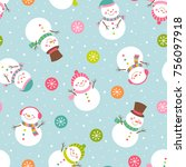 cute snowman illustration with... | Shutterstock .eps vector #756097918