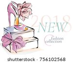 fashion shoes new collection... | Shutterstock .eps vector #756102568