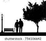 lovely retired elderly couple... | Shutterstock .eps vector #756106642