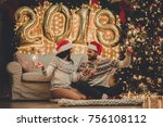 merry christmas and happy new... | Shutterstock . vector #756108112
