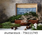 dark green fir branches with... | Shutterstock . vector #756111745