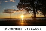 wonderful sunset in oslo | Shutterstock . vector #756112036