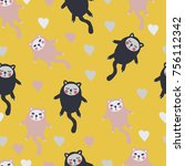 seamess pattern with cats and... | Shutterstock .eps vector #756112342