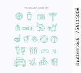 travelling icons vector set | Shutterstock .eps vector #756115006