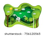 green eco friendly living house ... | Shutterstock .eps vector #756120565