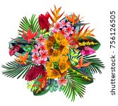 vector bouquet of tropical rain ... | Shutterstock .eps vector #756126505