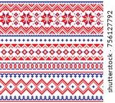lapland vector seamless winter... | Shutterstock .eps vector #756127792