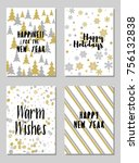 happy new year cards vector... | Shutterstock .eps vector #756132838