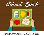 school  lunch box   Shutterstock .eps vector #756135502